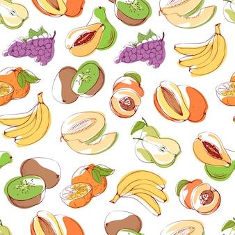Frutas frescas en patrones sin fisuras de fondo blanco