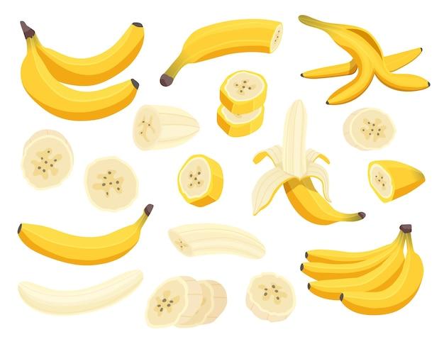 Frutas frescas de plátano aisladas sobre fondo blanco.