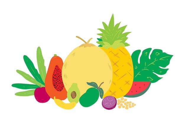 A frutas frescas tropicales