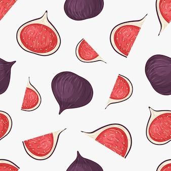 Frutas de higo dibujadas a mano de patrones sin fisuras.