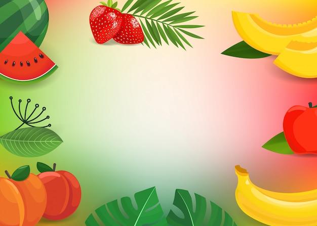 Frutas y hojas de verano.