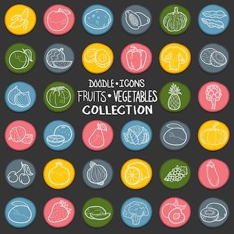 Frutas hortalizas healty food doodle icon