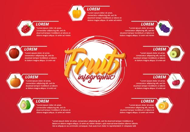 Frutas de infografía moderna con fondo rojo