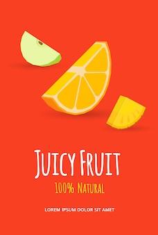 Frutas jugosas. ilustración de vector de frutas rebanada