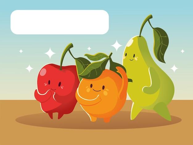 Frutas kawaii cara divertida caricatura linda manzana naranja y pera