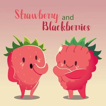 Frutas kawaii cara divertida felicidad fresa y mora ilustración vectorial