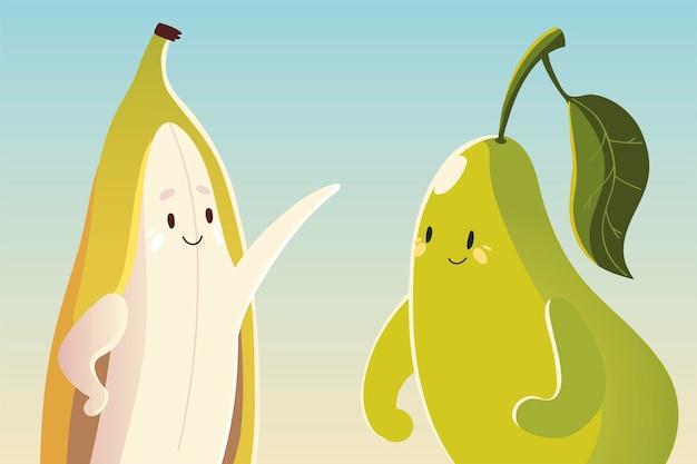 Frutas kawaii cara divertida felicidad linda pera y plátano ilustración vectorial