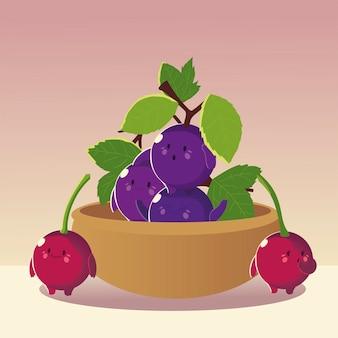 Frutas kawaii cara divertida felicidad lindas uvas y cerezas en la ilustración de vector de tazón