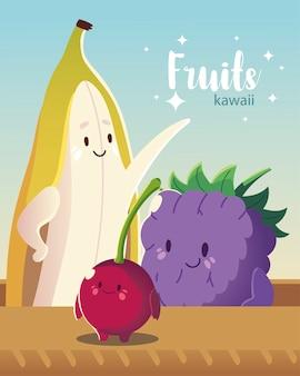 Frutas kawaii cara divertida felicidad lindo plátano blackberry y cereza ilustración vectorial