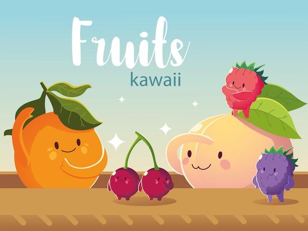 Frutas kawaii cara divertida felicidad naranja melocotón cereza moras dibujos animados