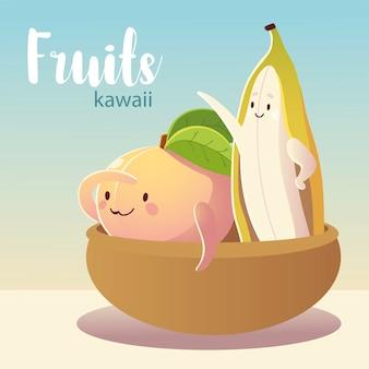 Frutas kawaii cara divertida felicidad plátano y melocotón en la ilustración de vector de tazón
