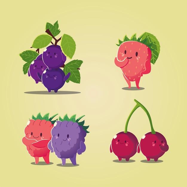 Frutas kawaii cara divertida felicidad uvas fresa cereza y mora ilustración vectorial