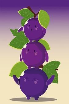 Frutas kawaii cara divertida felicidad uvas lindas con ilustración de vector de hoja