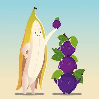 Frutas kawaii cara divertida felicidad uvas lindas con ilustración de vector de plátano