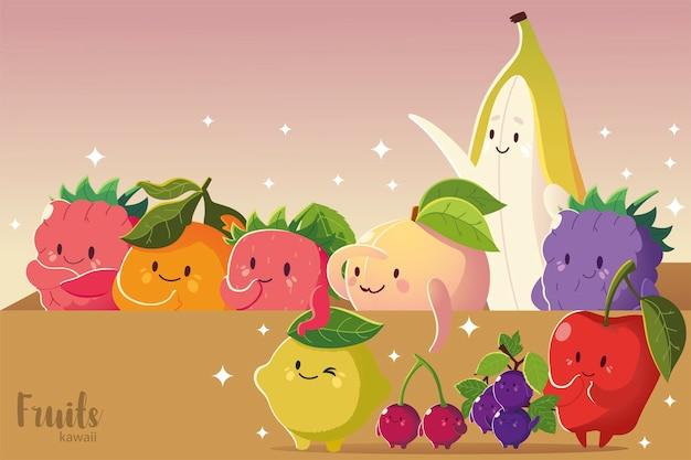 Frutas kawaii cara divertida manzana plátano cereza uvas fresa limón melocotón ilustración vectorial