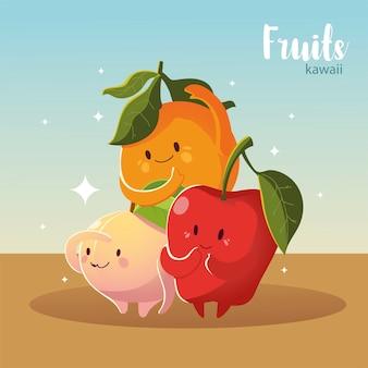 Frutas kawaii cara felicidad manzana melocotón y naranja ilustración vectorial