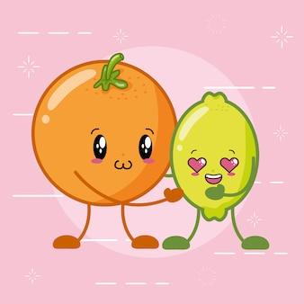 Frutas kawaii cítricas, naranja y limón