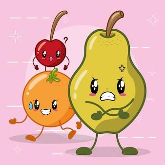 Frutas kawaii con diferentes expresiones felices, pera, naranja y cereza
