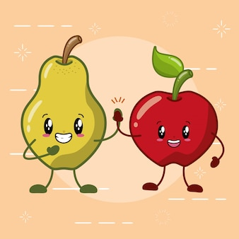 Frutas kawaii de pera y manzana