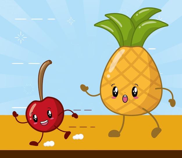 Frutas kawaii de piña y cereza