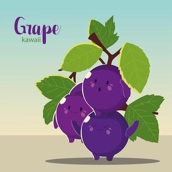 Frutas kawaii uvas cara divertida felicidad ilustración vectorial