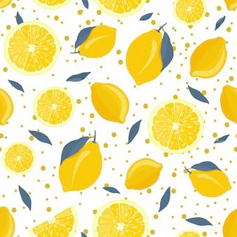 Frutas de limón y patrón sin costuras rebanada con hojas grises y brillantes