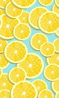 Frutas de limón rebanadas de patrones sin fisuras superpuestas