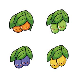 Frutas lindas que cuelgan de la rama, sonriendo. personajes de dibujos animados adorables, estilo de línea kawaii, ilustración.