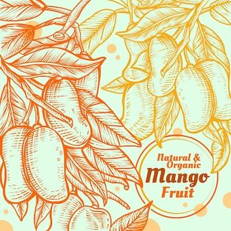 Frutas de mango dibujadas a mano con hojas