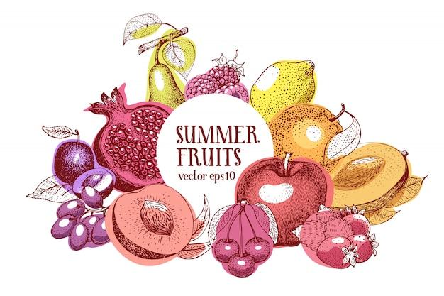 Frutas mano dibujado vector marco. plantilla de banner