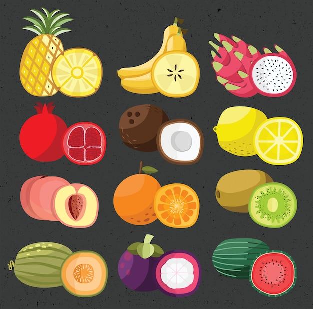 Frutas mixtas piña melón sandía limón melocotón naranja plátano mangostán