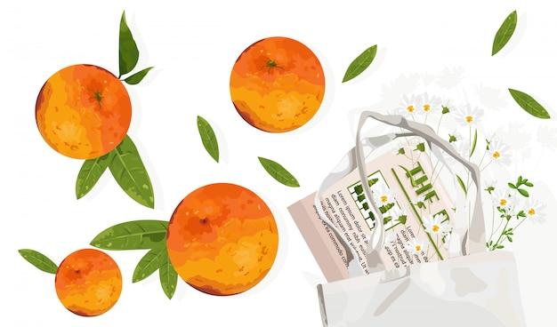 Frutas naranjas con hojas y bolsa ecológica. publicidad de productos ecológicos reutilizables.