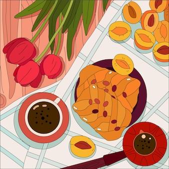 Frutas panadería taza de café y ramo de tulipanes