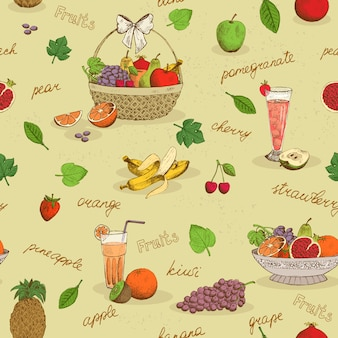 Frutas sin patrón con nombres