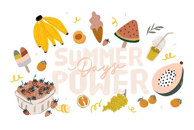 Frutas de picnic de verano, bayas, pastel, perrito caliente, sándwich, parrilla de barbacoa, café, helado, pastel. vista superior. conjunto de iconos de diseño plano de artículos de picnic. para pancartas, carteles, promociones, plantillas de presentación.