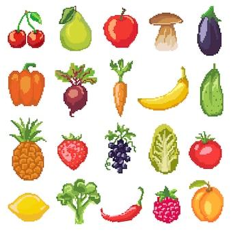 Frutas píxeles vegetales vector nutrición saludable de manzana frutal plátano y zanahoria vegetal