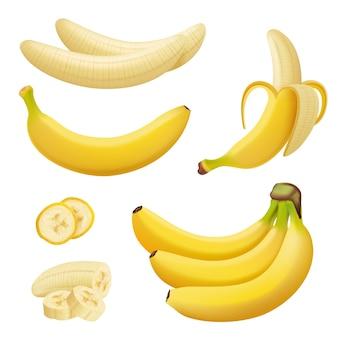 Frutas de plátano. postres exóticos plantas tropicales naturales comida sana plátanos.