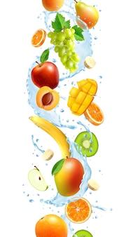 Frutas realistas enteras y en rodajas en un chorrito de agua