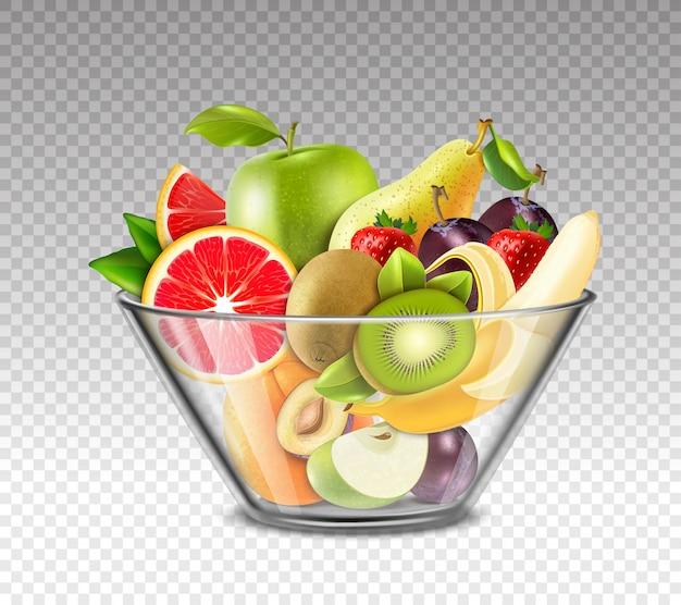 Frutas realistas en un tazón de vidrio