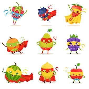 Frutas de superhéroe en máscaras y capas conjunto de lindos personajes de dibujos animados infantiles humanizados