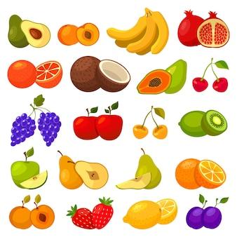 Frutas tropicales y bayas aisladas en blanco