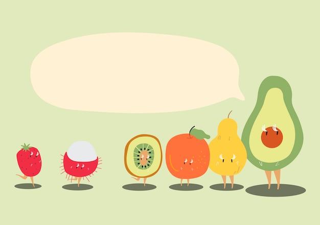 Frutas tropicales frescas con un discurso en blanco