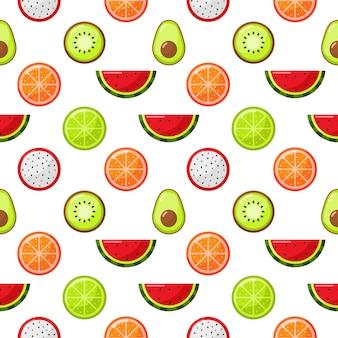 Frutas tropicales de patrones sin fisuras aislar en blanco