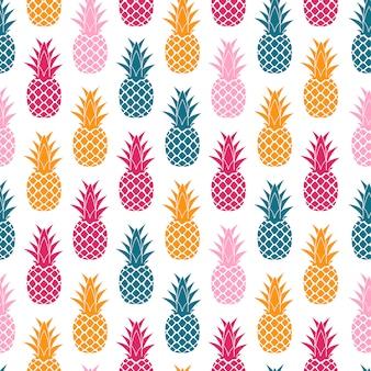 Frutas tropicales piña diseño de patrones sin fisuras. ilustración vectorial