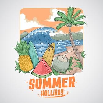 Frutas de verano árbol de coco y playa