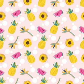 Frutas de verano y flores de patrones sin fisuras