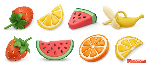 Frutas de verano con sombras. fresas, sandía, limón, naranja, plátano 3d.