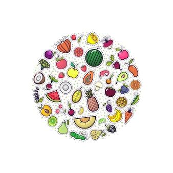 Frutas y verduras en el banner del círculo.