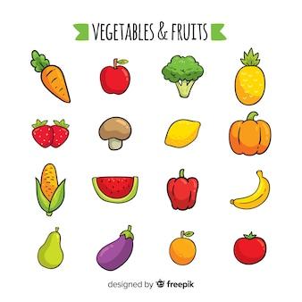 Frutas y verduras dibujadas a mano