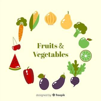 Frutas y verduras en diseño plano
